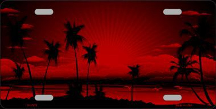 Sunset Red Metal Novelty License Plate
