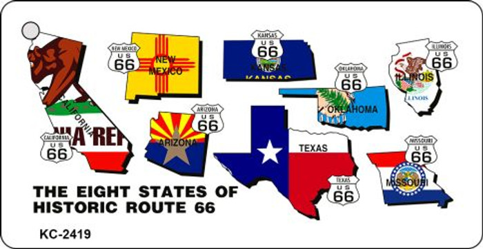 Eight States Route 66 Novelty Key Chain