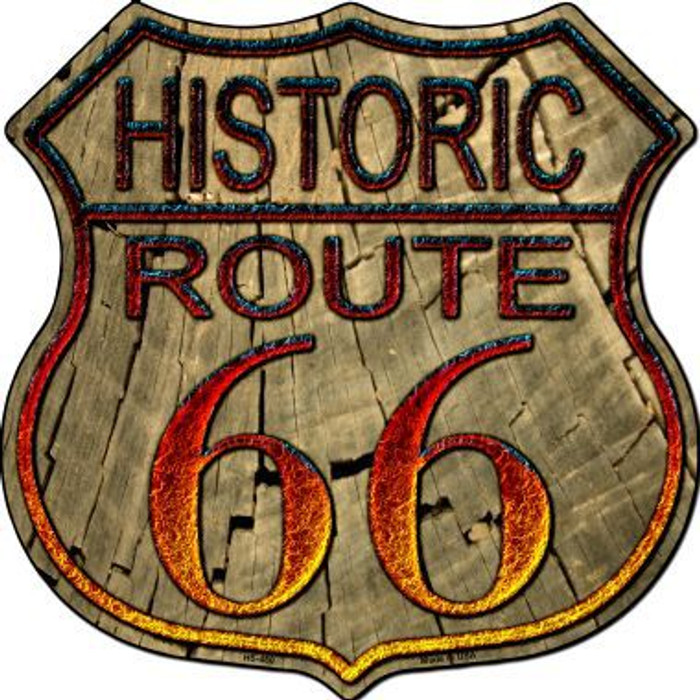 Historic Route 66 Wood Metal Novelty Highway Shield