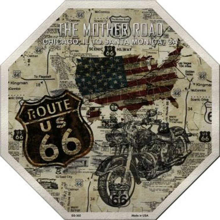 Route 66 Mother Road Vintage Metal Novelty Stop Sign
