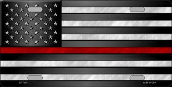 American Flag Thin Red Line Novelty Metal License Plate