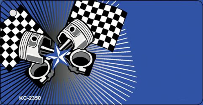 Pistons Checkered Flags OffSet Novelty Key Chain