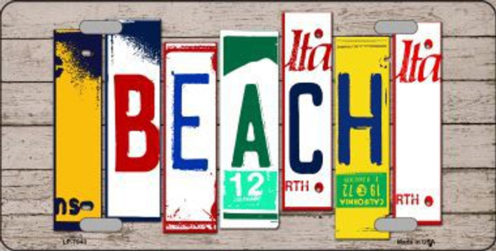 Beach Wood License Plate Art Novelty Metal License Plate
