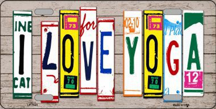 I Love Yoga Wood License Plate Art Novelty Metal License Plate