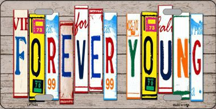 Forever Young Wood License Plate Art Novelty Metal License Plate