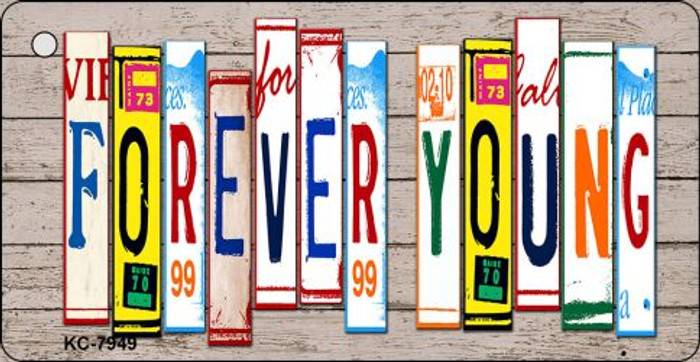 Forever Young Wood License Plate Art Novelty Key Chain