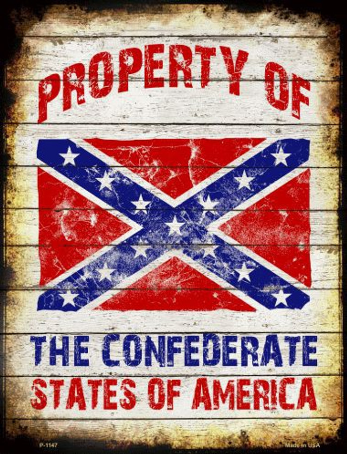 Property Of Confederate States Metal Novelty Parking Sign
