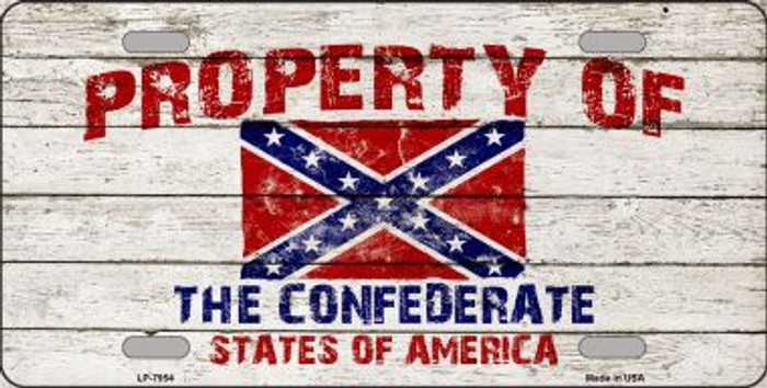 Property Of Confederate States Novelty Metal License Plate