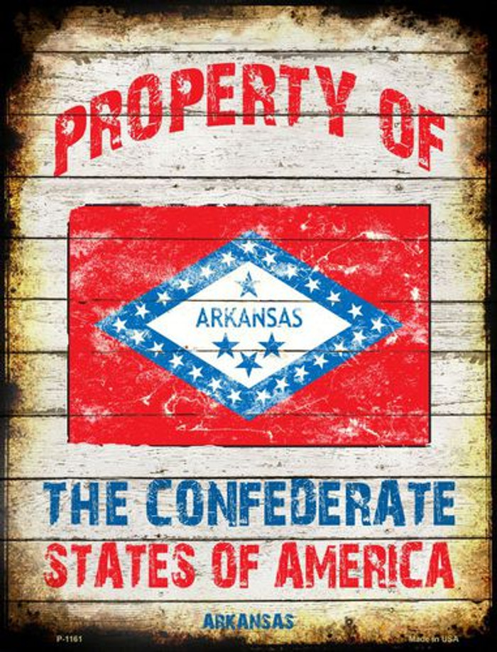 Property Of Arkansas Metal Novelty Parking Sign