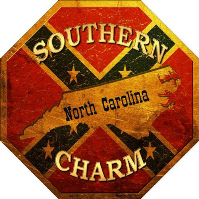 Southern Charm North Carolina Metal Novelty Stop Sign