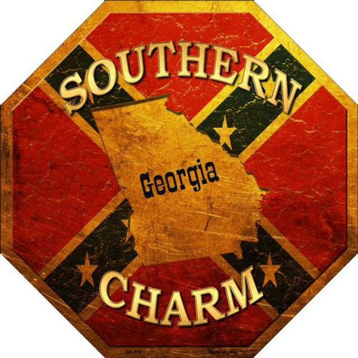 Southern Charm Georgia Metal Novelty Stop Sign
