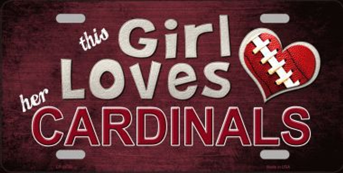 This Girl Loves Her Cardinals Novelty Metal License Plate