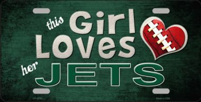 This Girl Loves Her Jets Novelty Metal License Plate