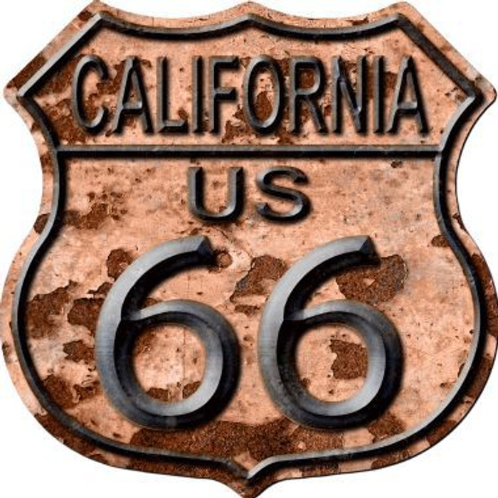 California Route 66 Rusty Metal Novelty Highway Shield