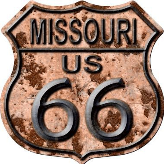 Missouri Route 66 Rusty Metal Novelty Highway Shield