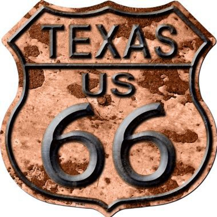 Texas Route 66 Rusty Metal Novelty Highway Shield