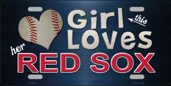 This Girl Loves Her Red Sox Novelty Metal License Plate