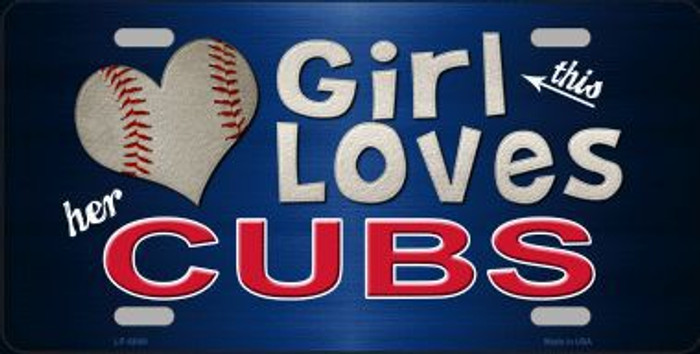 This Girl Loves Her Cubs Novelty Metal License Plate