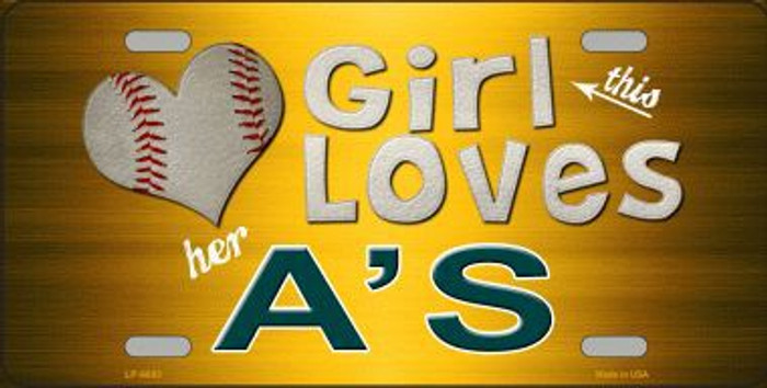 This Girl Loves Her Athletics Novelty Metal License Plate