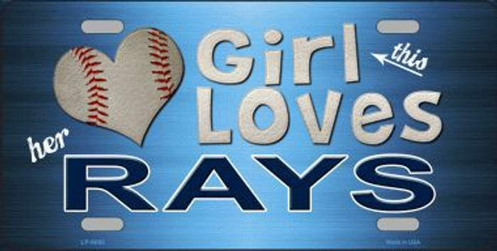This Girl Loves Her Rays Novelty Metal License Plate