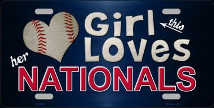 This Girl Loves Her Nationals Novelty Metal License Plate