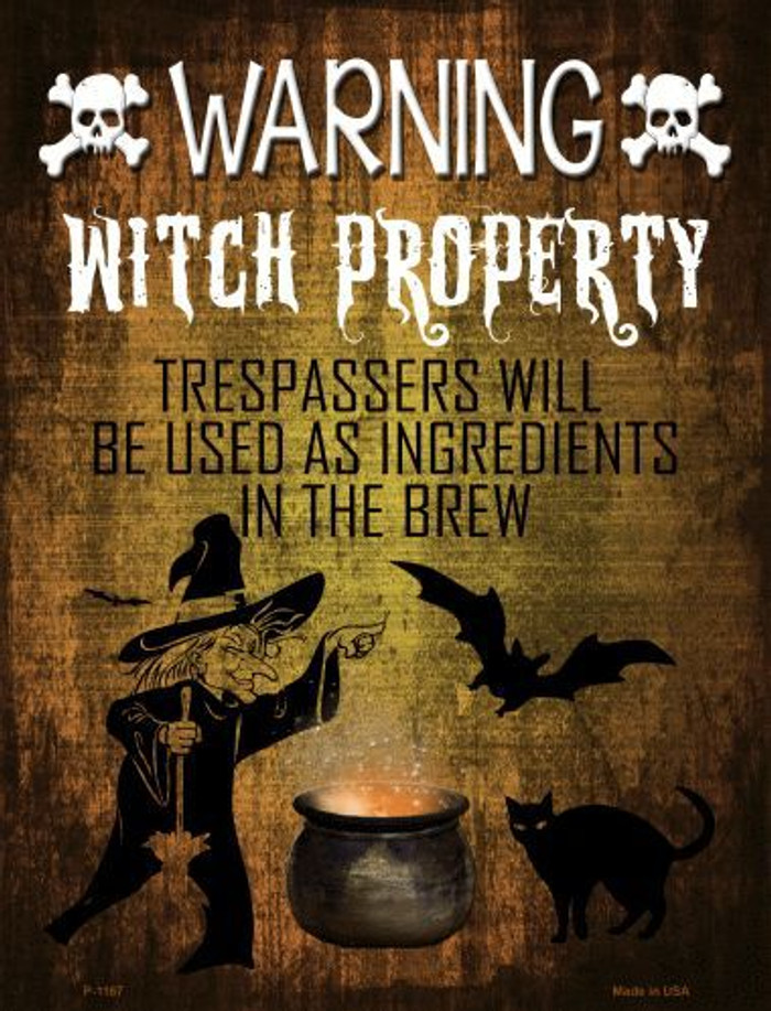 Witch Property Metal Novelty Parking Sign