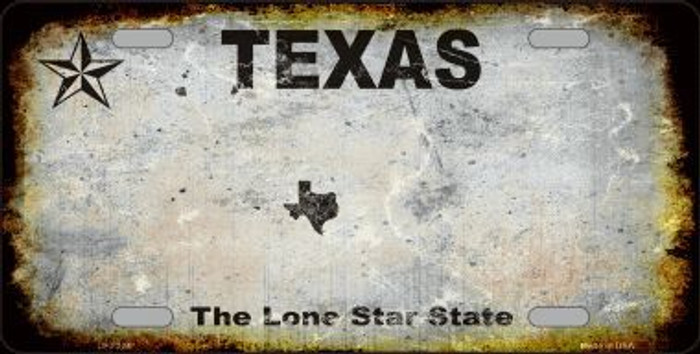 Texas Background Rusty Novelty Metal License Plate