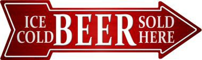 Ice Cold Beer Sold Here Novelty Metal Arrow Sign