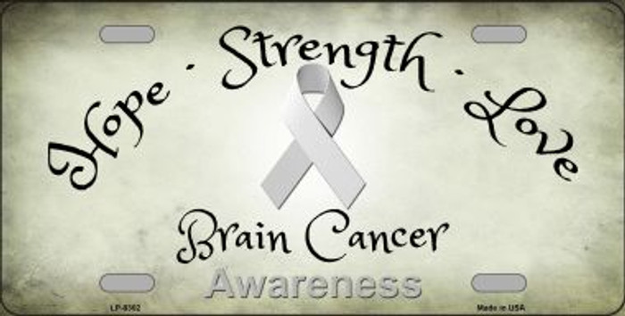 Brain Cancer Novelty Metal License Plate