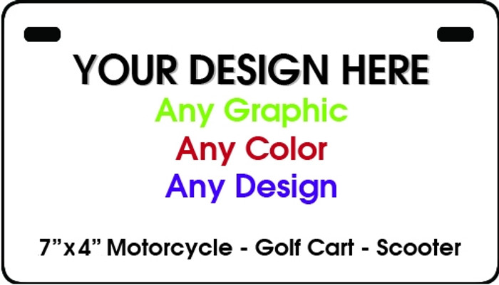 "Personalized Design Your Own Custom 7"" x 4"" Motorcycle 