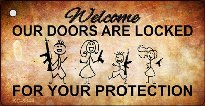 Doors Locked Your Protection Novelty Metal Key Chain
