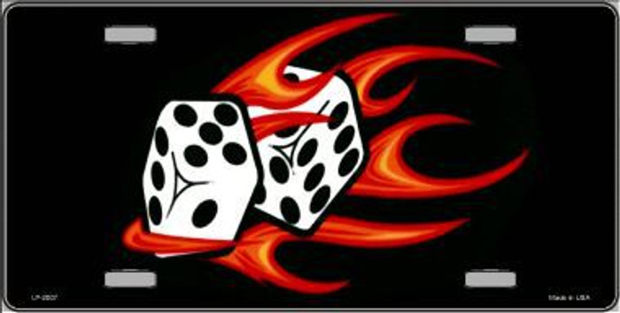 Red Hot Flaming Dice Metal Novelty License Plate
