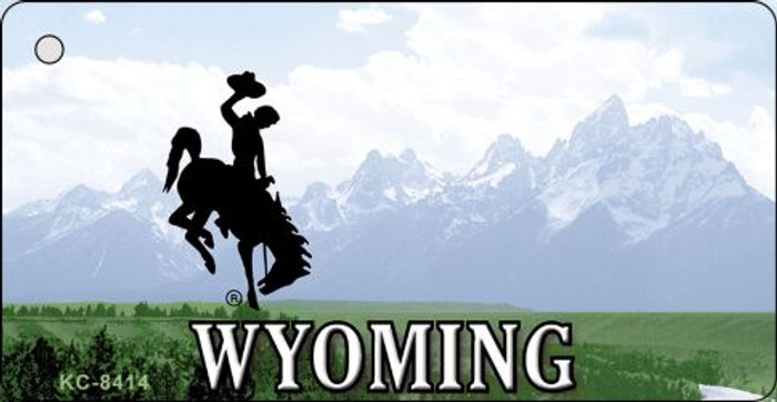 Wyoming State Background Novelty Metal Key Chain