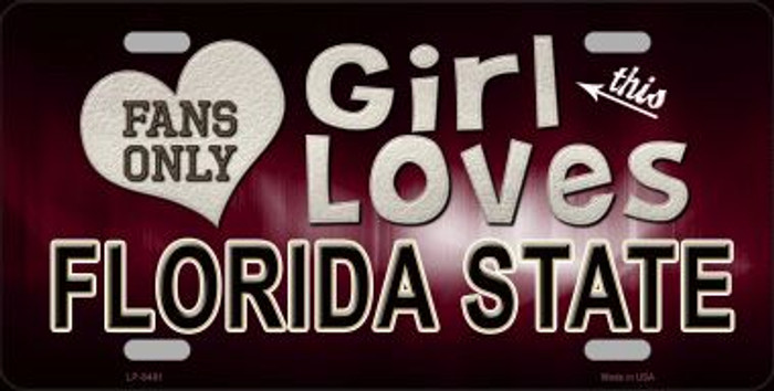 This Girl Loves Florida State Novelty Metal License Plate