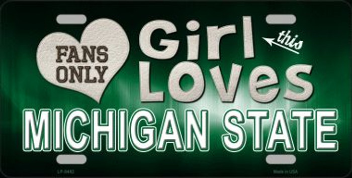 This Girl Loves Michigan State Novelty Metal License Plate