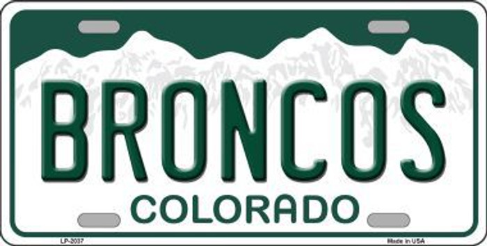 Broncos Colorado State Background Novelty Metal License Plate