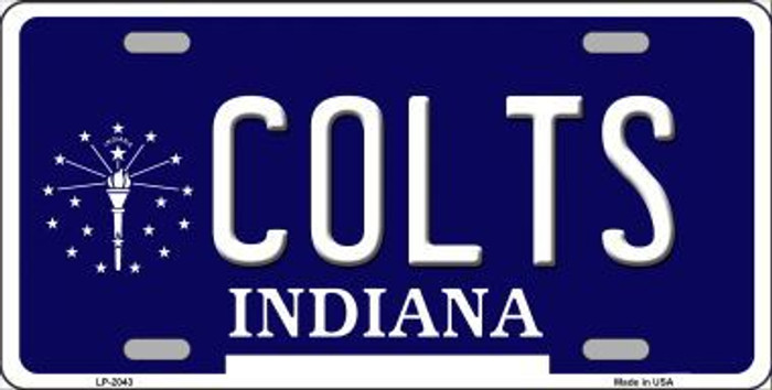 Colts Indiana State Background Novelty Metal License Plate