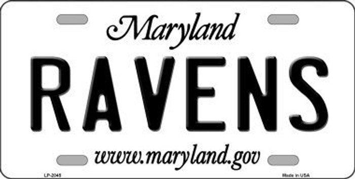 Ravens Maryland State Background Novelty Metal License Plate