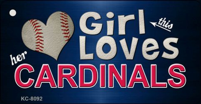 This Girl Loves Her Cardinals Novelty Metal Key Chain