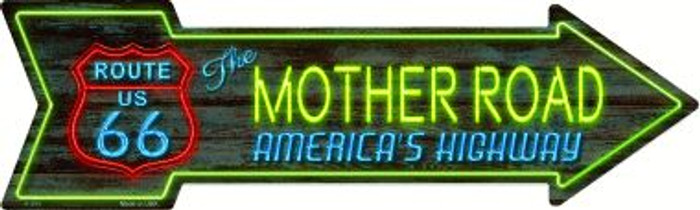 Route 66 Mother Road Neon Novelty Metal Arrow Sign