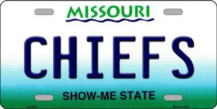 Chiefs Missouri State Background Novelty Metal License Plate