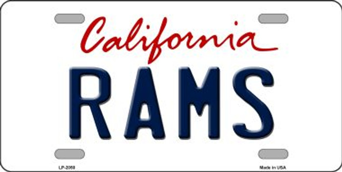 Rams California State Background Novelty Metal License Plate