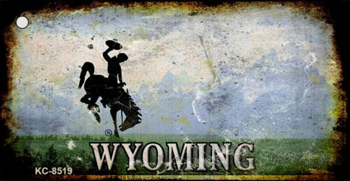 Wyoming Rusty State Background Novelty Metal Key Chain
