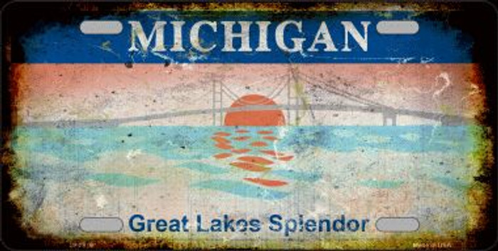 Michigan Rusty State Background Novelty Metal License Plate