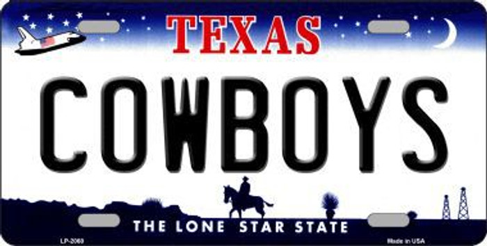 Cowboys Texas  State Background Novelty Metal License Plate