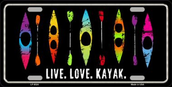 Live Love Kayak Novelty Metal License Plate