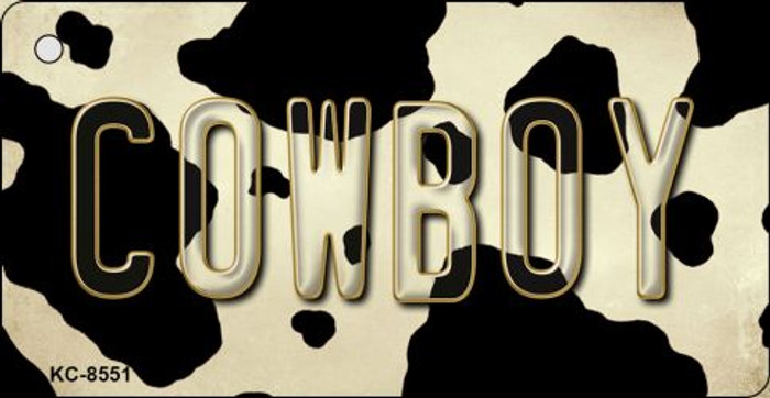 Cowboy Cow Print Background Novelty Metal Key Chain