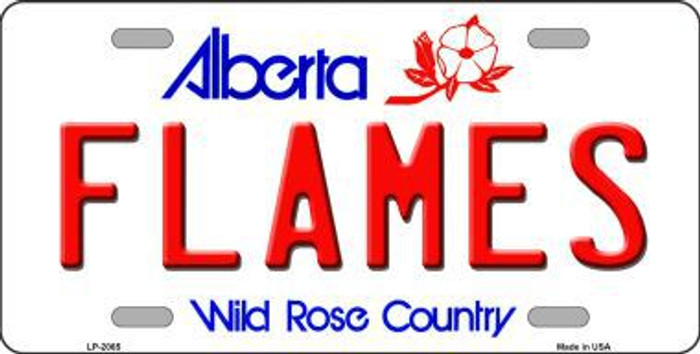 Flames Alberta Canada Province Background Metal Novelty License Plate