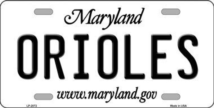 Orioles Maryland State Background Novelty Metal License Plate