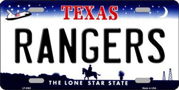 Rangers Texas State Background Novelty Metal License Plate